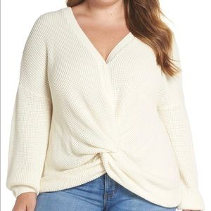 BP Twist Front Sweater Ivory 3x Ivory